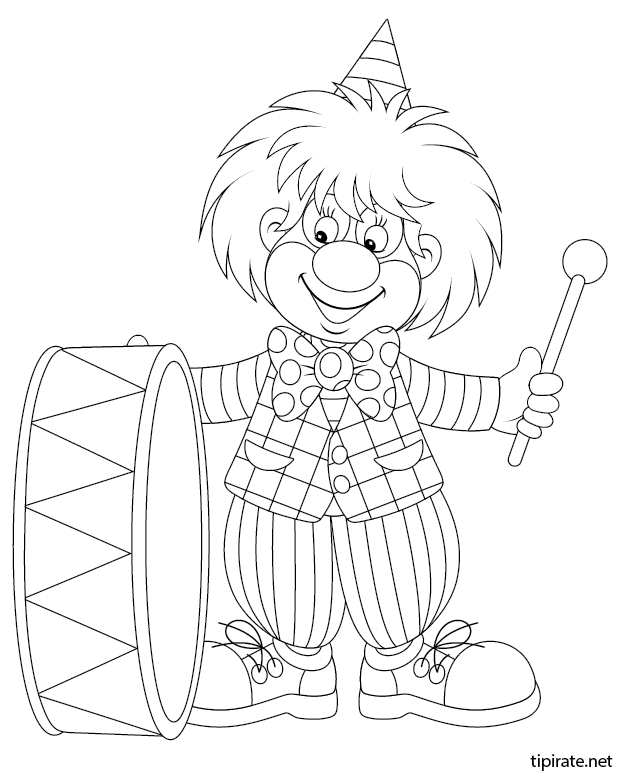 Coloriage imprimer le clown musicien tipirate - Dessin musicien ...