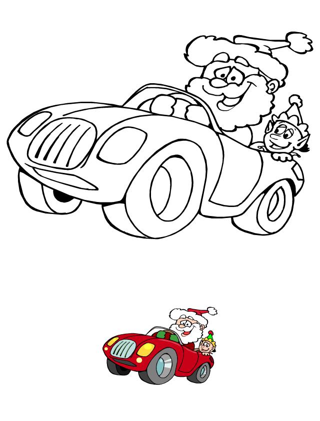 Coloriage à imprimer, le père Noël et le lutin - Tipirate