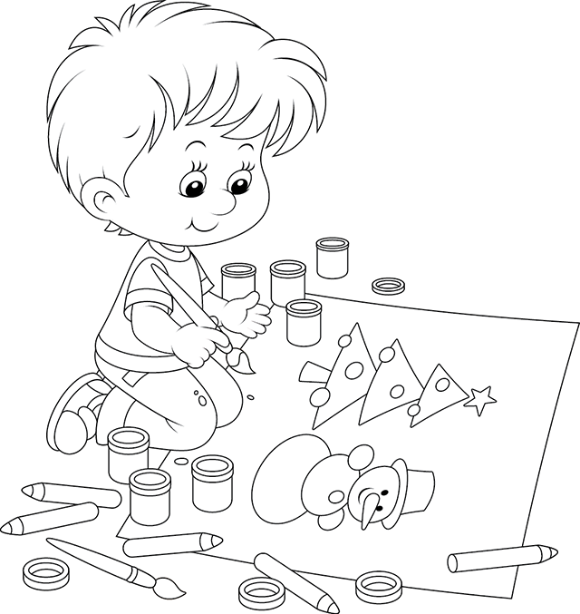 ... , enfant qui dessine un sapin de Noël et un bonhomme de neige