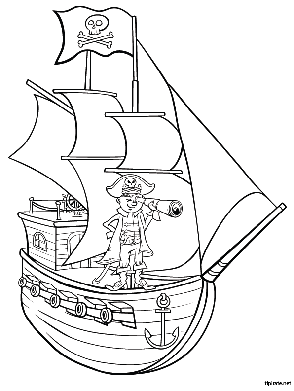 Coloriage le bateau pirate tipirate - Dessin petit bateau ...