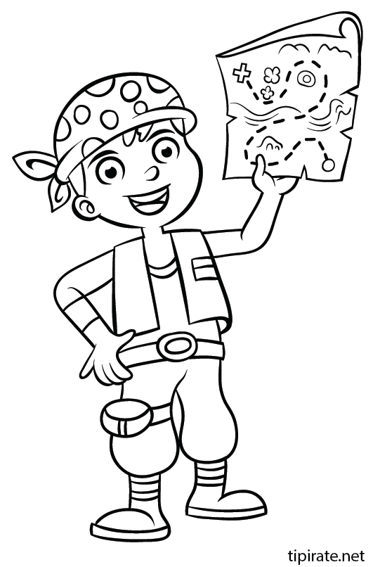 Coloriage pirate et carte au tr sor tipirate - Tete de pirate dessin ...