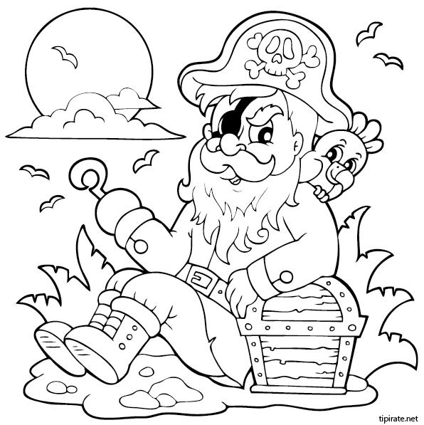 Le capitaine des pirates et le coffre au tr sor tipirate - Dessin de coffre de pirate ...