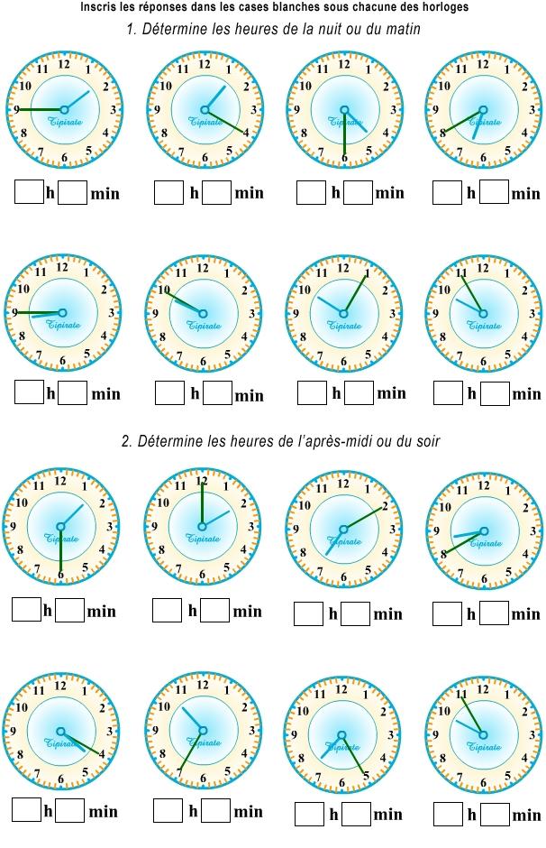 exercice 1 : apprendre à lire l'heure