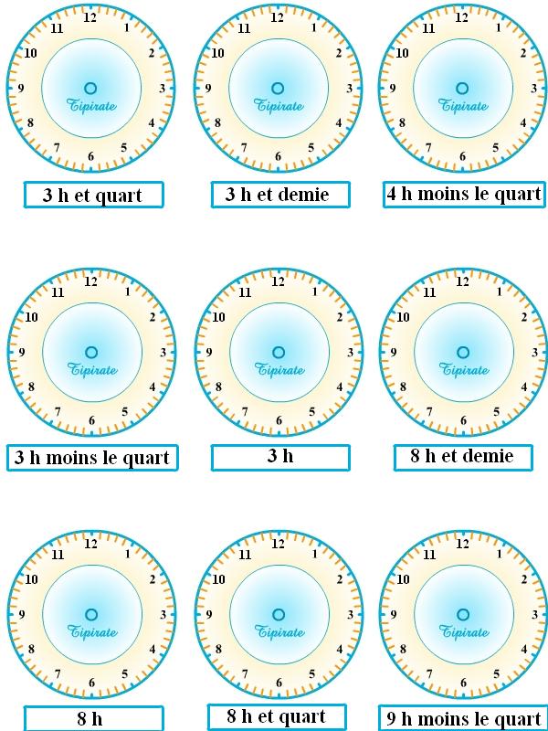 Exercices pour apprendre à lire l'heure