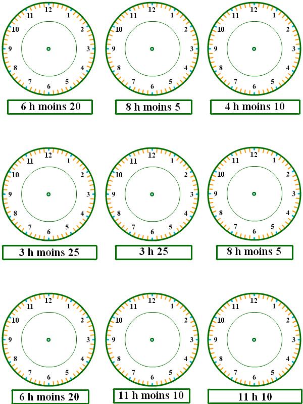 Apprendre à lire l'heure, exercices-5 - Tipirate
