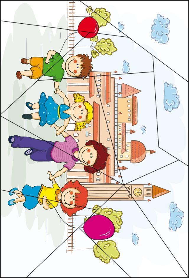 puzzle les enfants et les ballons tipirate. Black Bedroom Furniture Sets. Home Design Ideas