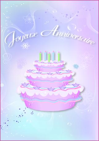 Carte d'anniversaire, un gâteau - Tipirate