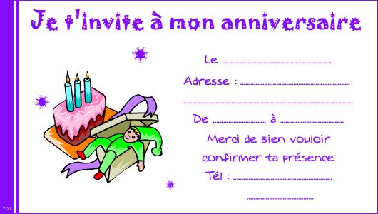 carte d invitation anniversaire