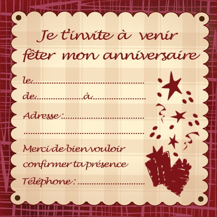 cartes d invitation anniversaire imprimer theme. Black Bedroom Furniture Sets. Home Design Ideas