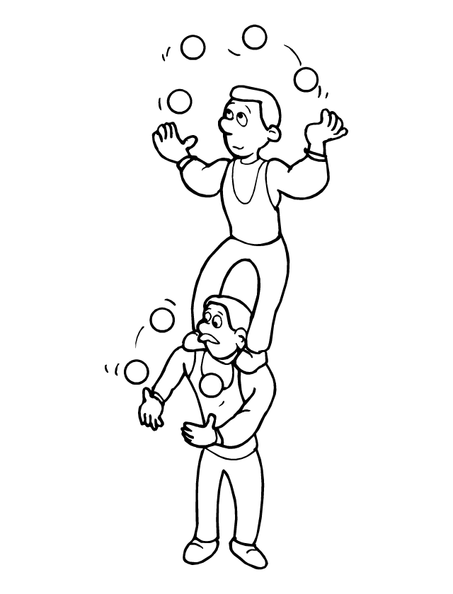 Coloriage les jongleurs tipirate - Image jongleur cirque ...