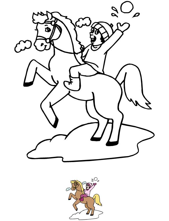 Coloriage Cheval Hiver.Coloriage L Enfant Et Le Cheval Tipirate