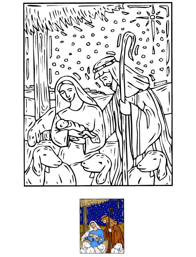 Coloriage la cr che de no l tipirate - Coloriage creche de noel ...