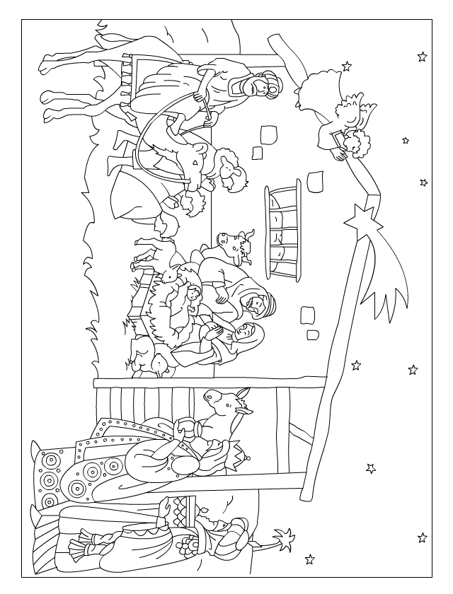 Coloriage de no l la cr che tipirate - Coloriage creche de noel ...