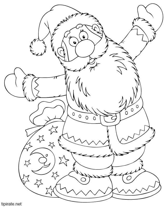 Coloriage Le Père Noël Et Sa Hotte Tipirate