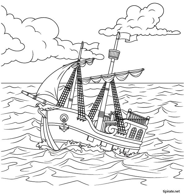 Coloriage Bateau Des Pirates En Mer Tipirate