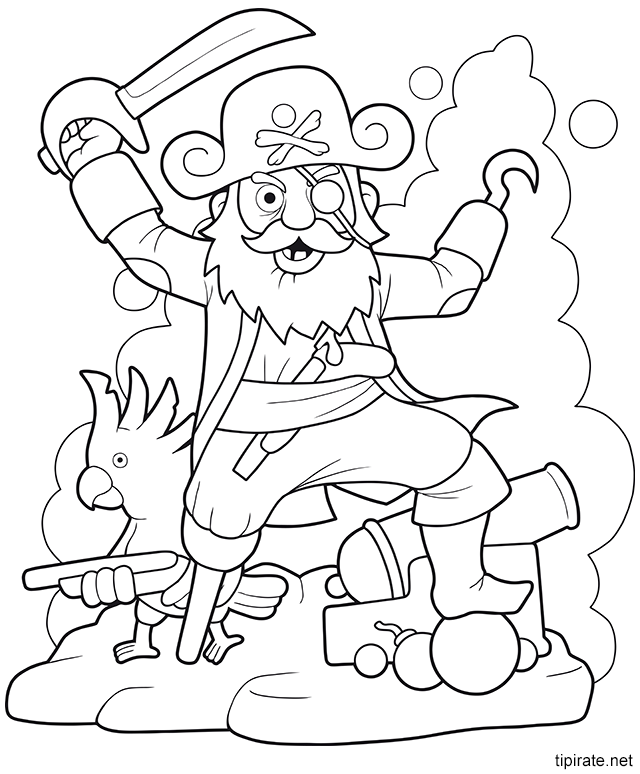 Coloriage le capitaine des pirates tipirate - Tete de pirate dessin ...