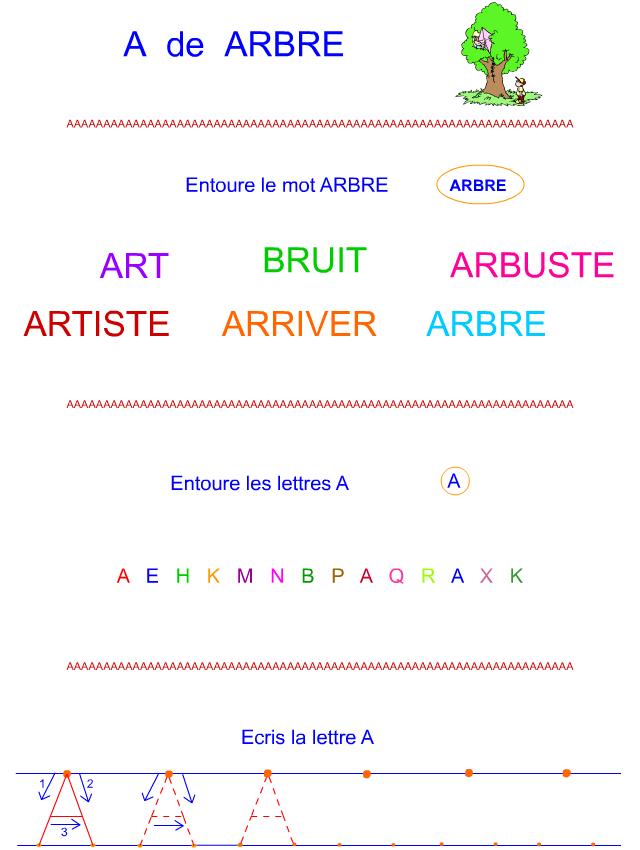 lettre a en lettre bton - Lettre Majuscule A Imprimer
