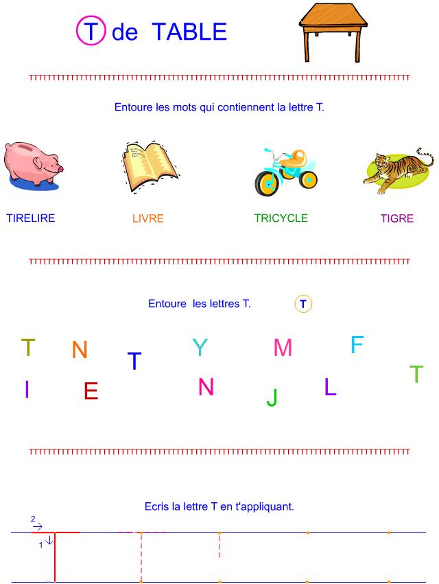 lettre t en lettre bton - Lettre Majuscule A Imprimer