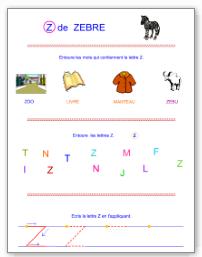 Fiches d 39 criture en majuscules d 39 imprimerie tipirate - Z en majuscule ...