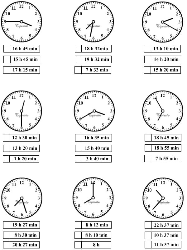 Sehr Apprendre à lire l'heure, exercices-2 - Tipirate DE49