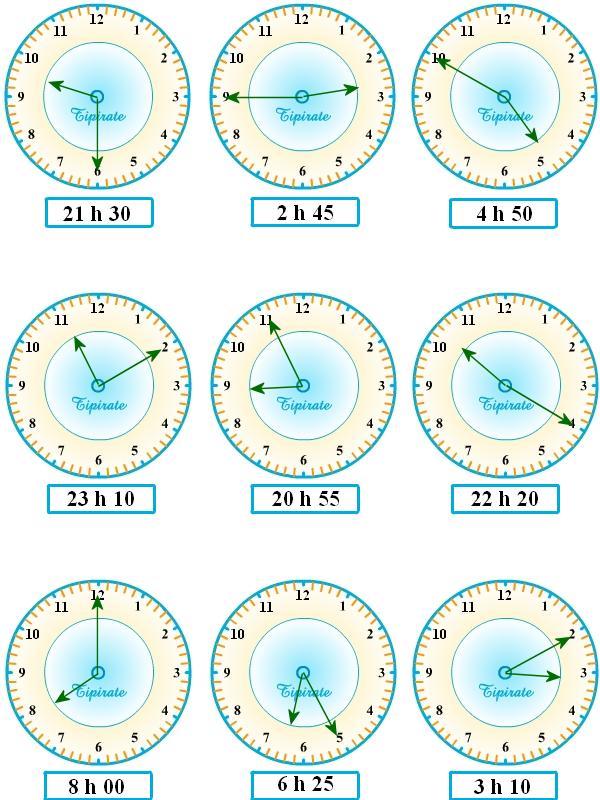 Bevorzugt Apprendre à lire l'heure, exercices-3 - Tipirate VI97