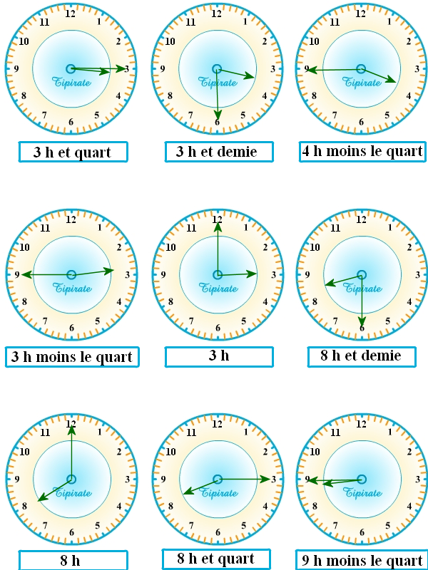 Bevorzugt Apprendre à lire l'heure, exercices-4 - Tipirate VI97