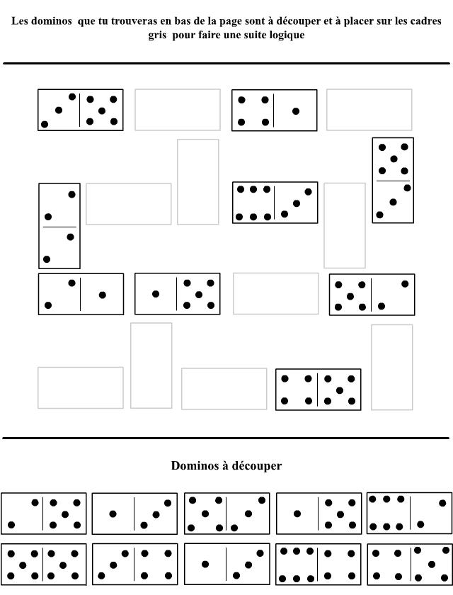 Suites logiques avec des dominos tipirate - Jeux imprimer adulte ...