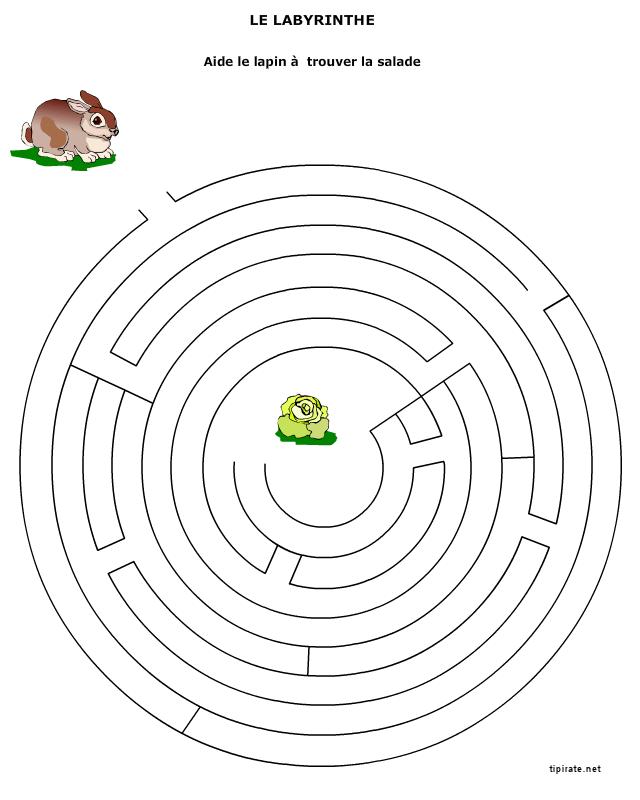 Labyrinthe le lapin et la salade tipirate - Jeu labyrinthe a imprimer ...