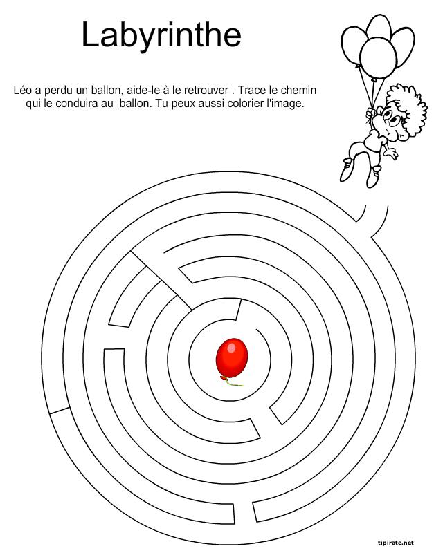 Labyrinthe l 39 enfant et le ballon tipirate - Jeu labyrinthe a imprimer ...