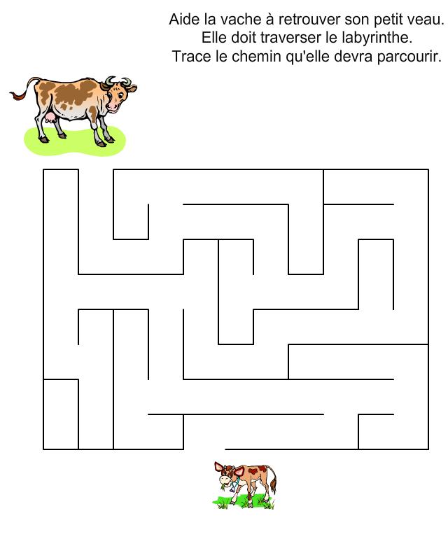 Labyrinthe la vache et le veau tipirate - Vache a imprimer ...