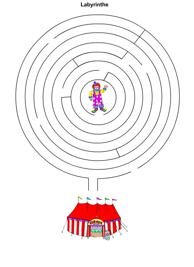 Labyrinthe le clown et le cirque tipirate - Jeu labyrinthe a imprimer ...