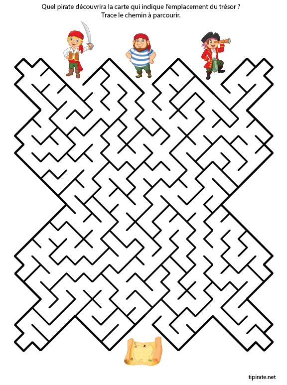 Labyrinthe les pirates et la carte au tr sor tipirate - Jeu labyrinthe a imprimer ...
