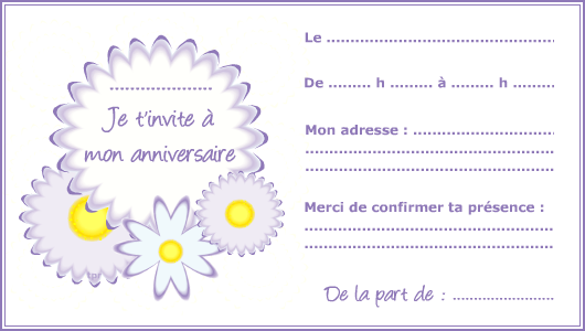Top Carte d'invitation, fleurs violettes - Tipirate ML91