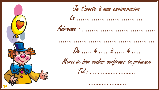 Assez Carte d'invitation; le clown - Tipirate QK75
