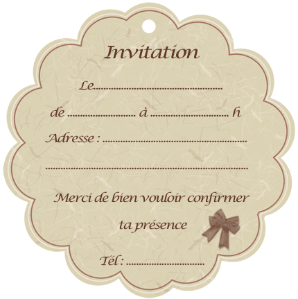 Hervorragend Carte d'invitation à imprimer - Tipirate FE99